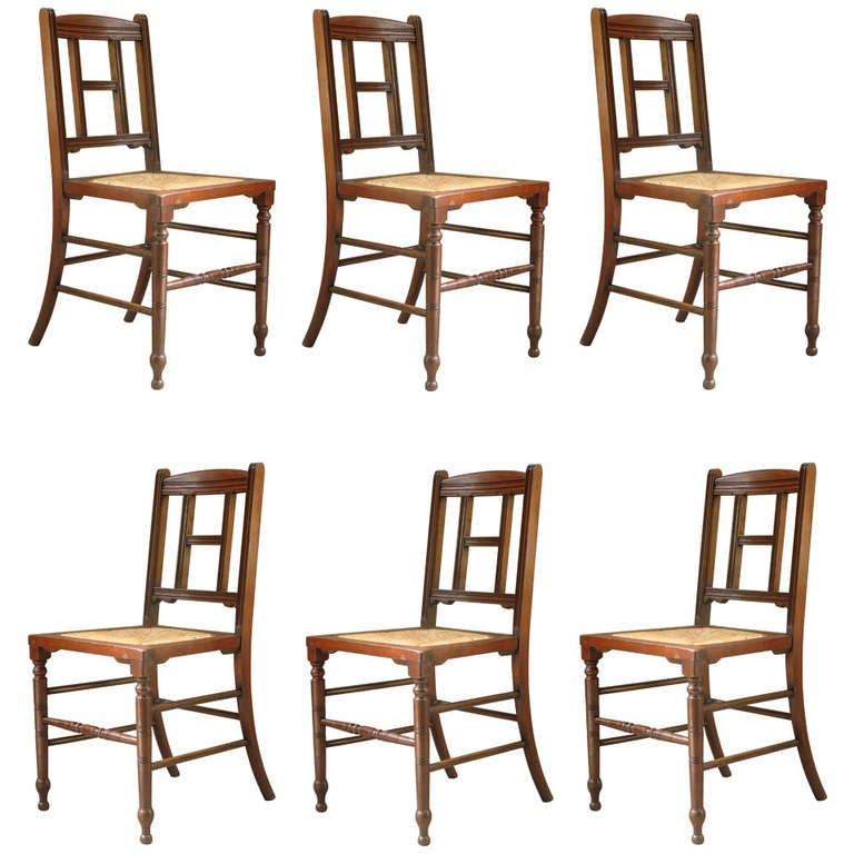 Set of Six Mahogany and Rush Dining Chairs