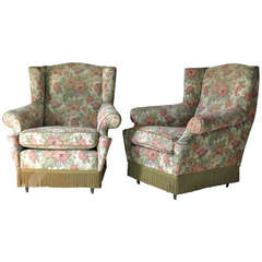 Pair of Floral Upholstered Wingback Armchairs, Italy, circa 1940s