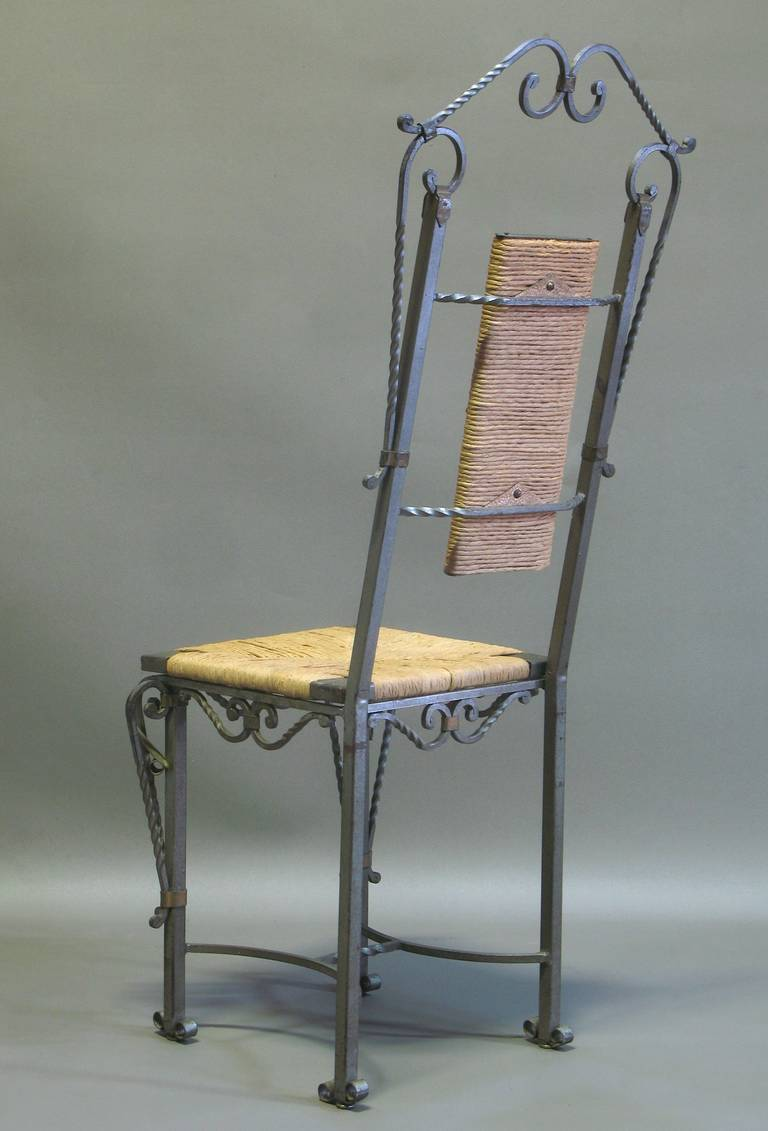 Exceptional Wrought Iron Ivy Motif Table and Six Chairs, France, 1940s 7