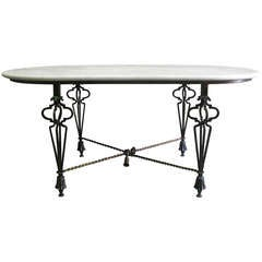 French 1950s Oblong Table in the Manner of Poillerat