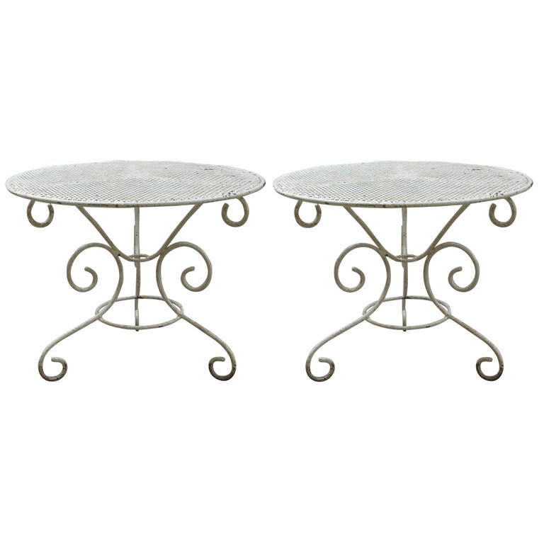 Small pair of low wrought iron side tables at 1stdibs for Wrought iron side table base