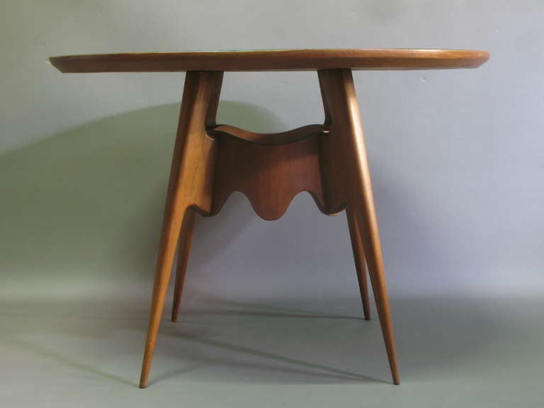 italian mid century wood and glass topped round dining table at 1stdibs. Black Bedroom Furniture Sets. Home Design Ideas