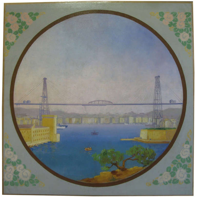 Large art deco painting of marseille vieux port france for Art decoration france