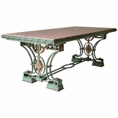 Exceptional Wrought Iron and Brocatelle Marble Table, France, 1940s