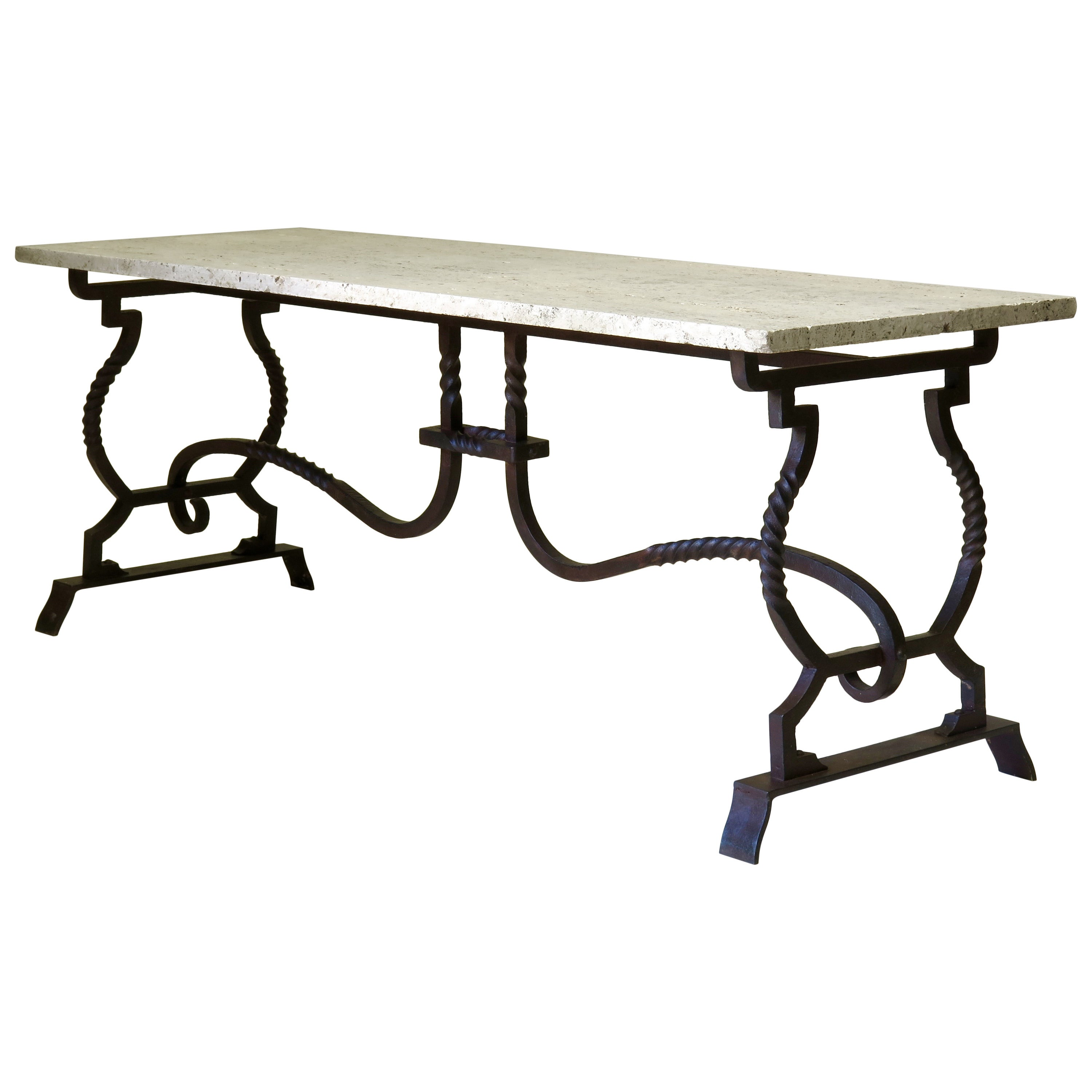 Wrought Iron and Travertine Coffee Table, France, 1940s-1950s