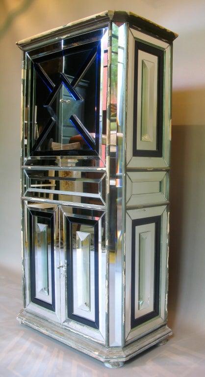 french 40s art deco mirror clad cabi  w glass appliques