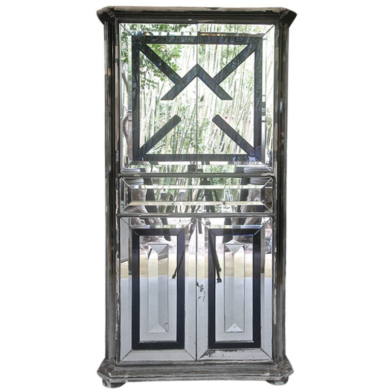 French 40s Art Deco Mirror-Clad Cabinet w. Glass Appliques