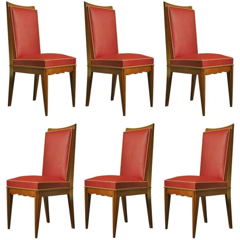 Set of Six French 1950s Dining Chairs