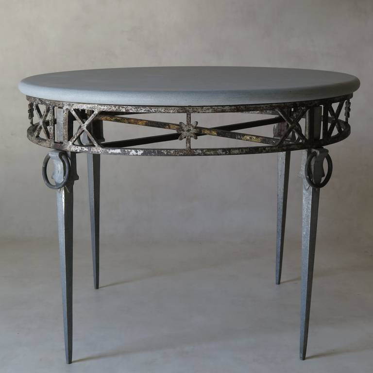 French Unusual Directoire Style Cast Iron Aluminum And Stone Top Table For
