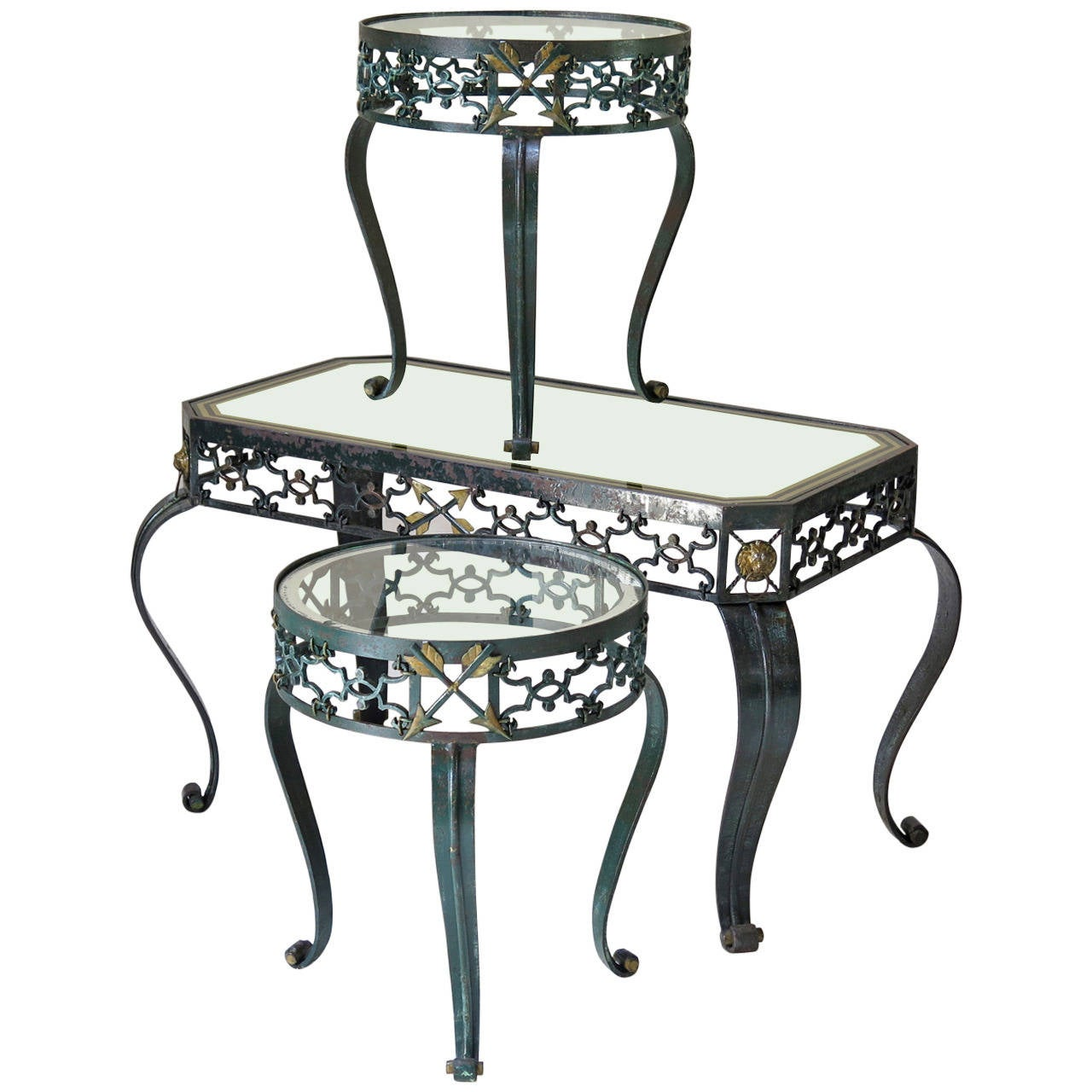 Charmant Trio Of Art Deco Wrought Iron Coffee Tables, France, 1940s For Sale
