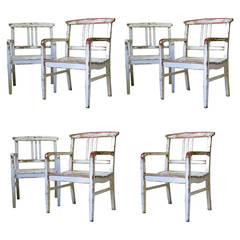 Set of 7 Painted Wood Armchairs - France, Circa 1930s