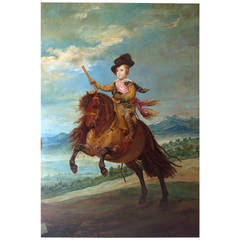 """Prince Balthazar Carlos on Horseback"" Painting after Velasquez, Spain 1915"