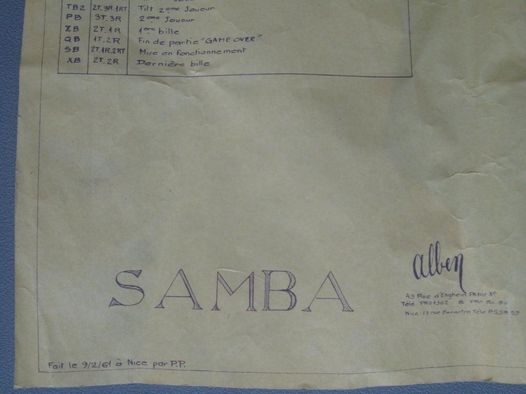 Samba Pinball Machine From 1961 For Sale 5