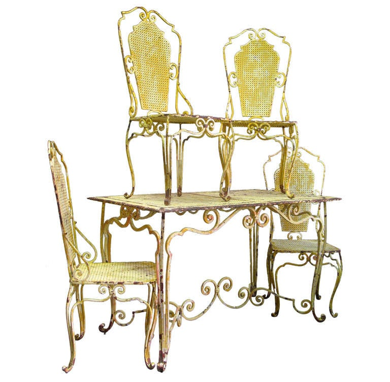 French Baroque 1940s Wrought Iron Table and Four Chairs
