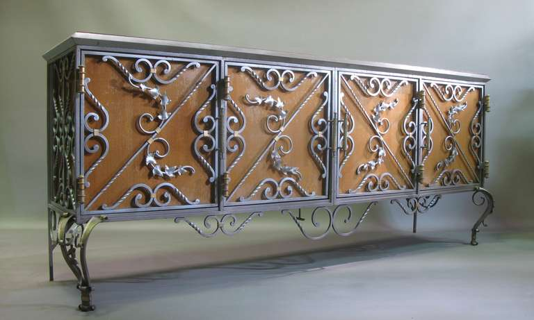 Exceptional Wrought Iron Ivy Motif Table and Six Chairs, France, 1940s 10