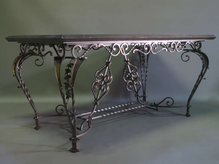 exceptional wrought iron ivy motif table and six chairs france 1940s