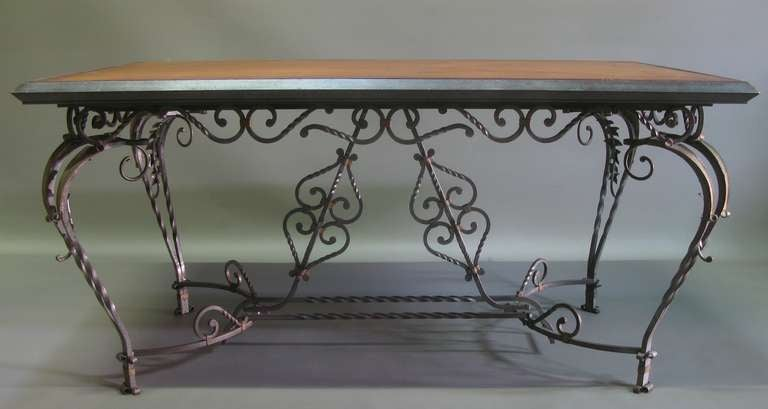 Exceptional Wrought Iron Ivy Motif Table and Six Chairs, France, 1940s 3