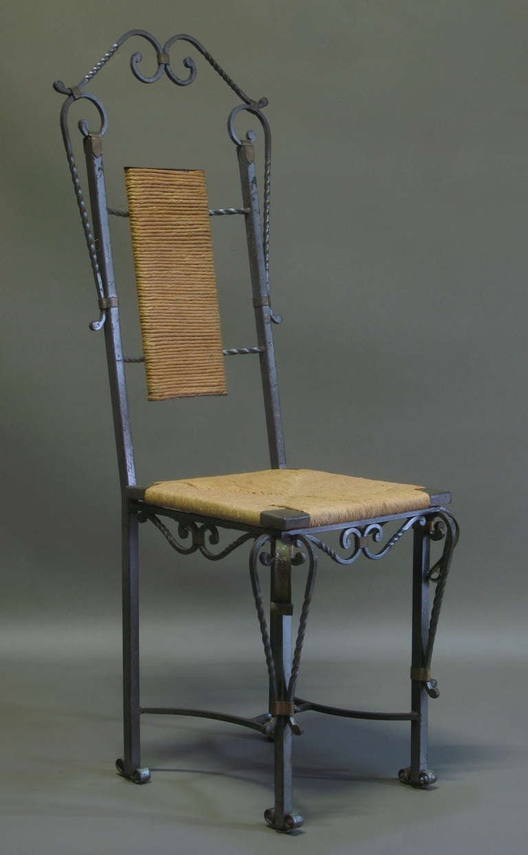 Exceptional Wrought Iron Ivy Motif Table And Six Chairs France 1940s At 1st