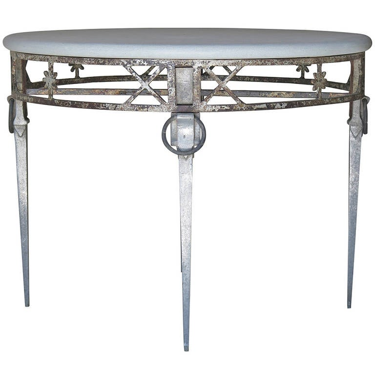 Unusual Directoire Style Cast Iron Aluminum And Stone Top Table For