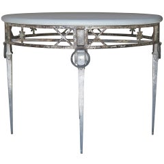 Unusual Directoire Style Cast Iron, Aluminum and Stone Top Table