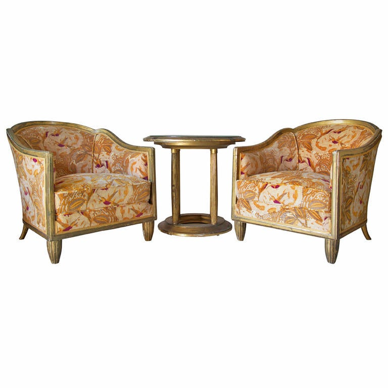 Art Deco Pair of Armchairs and Table, France, circa 1920s