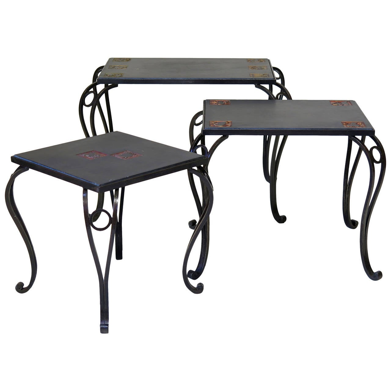 Trio of Iron & Slate Nesting Tables with Zodiac Sign Motif - France, Circa 1950s