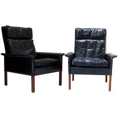 Pair of Hans Olsen Leather & Rosewood Armchairs - Denmark, Circa 1960s