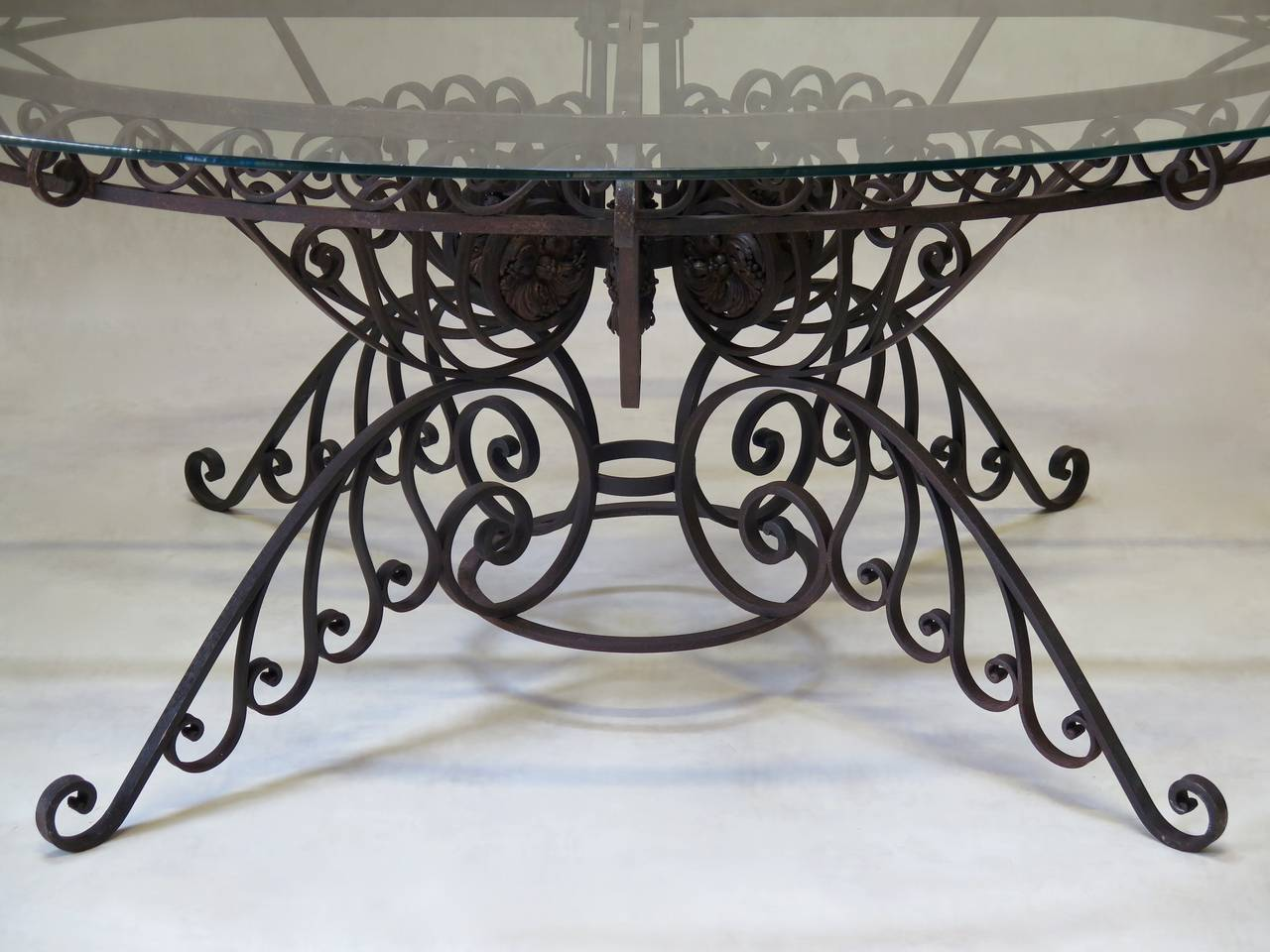 Spectacular Oval Wrought Iron Art Deco Dining Table, France, 1930s For Sale 1