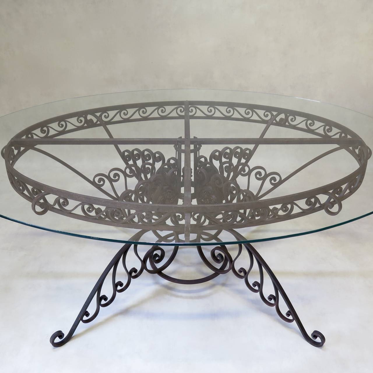 20th Century Spectacular Oval Wrought Iron Art Deco Dining Table, France, 1930s For Sale