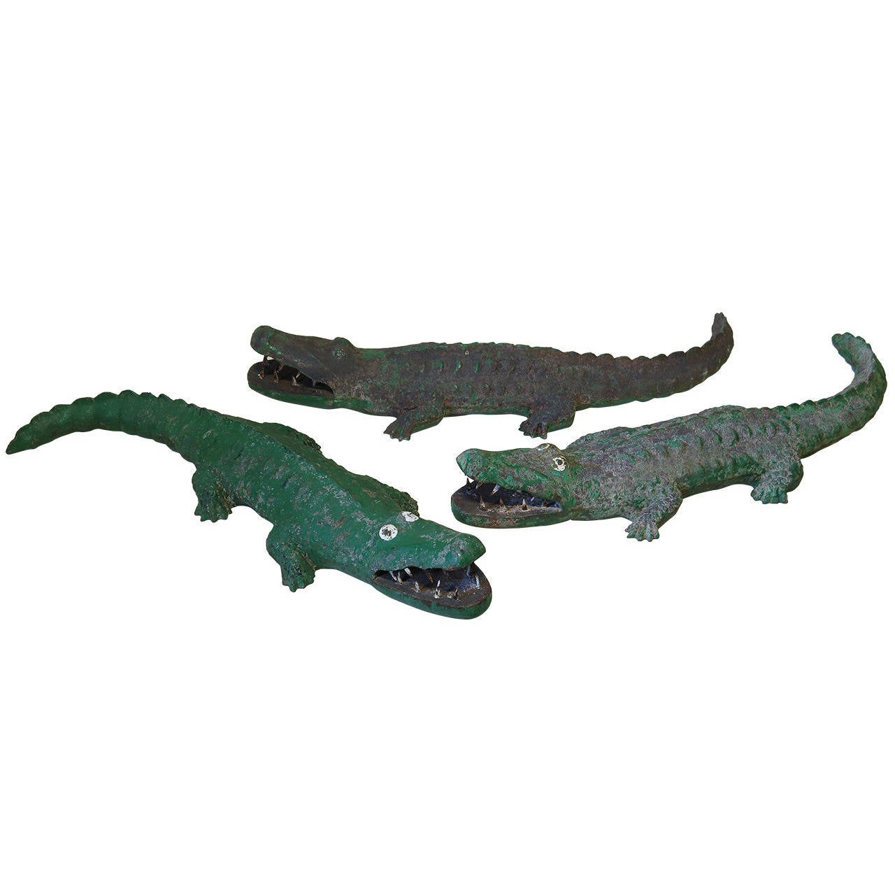 Three Large Painted Cast Iron Crocodiles Sculptures, France, 1950s