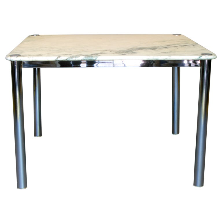 Square Chrome And Marble Center Or Dining Tables 6