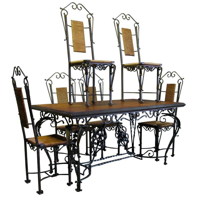 Exceptional Wrought Iron Ivy Motif Table and Six Chairs, France, 1940s 1