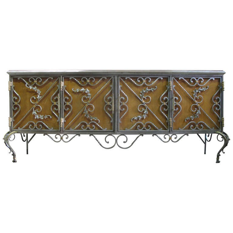 Exceptional Wrought Iron Ivy Motif Credenza, France, 1940s