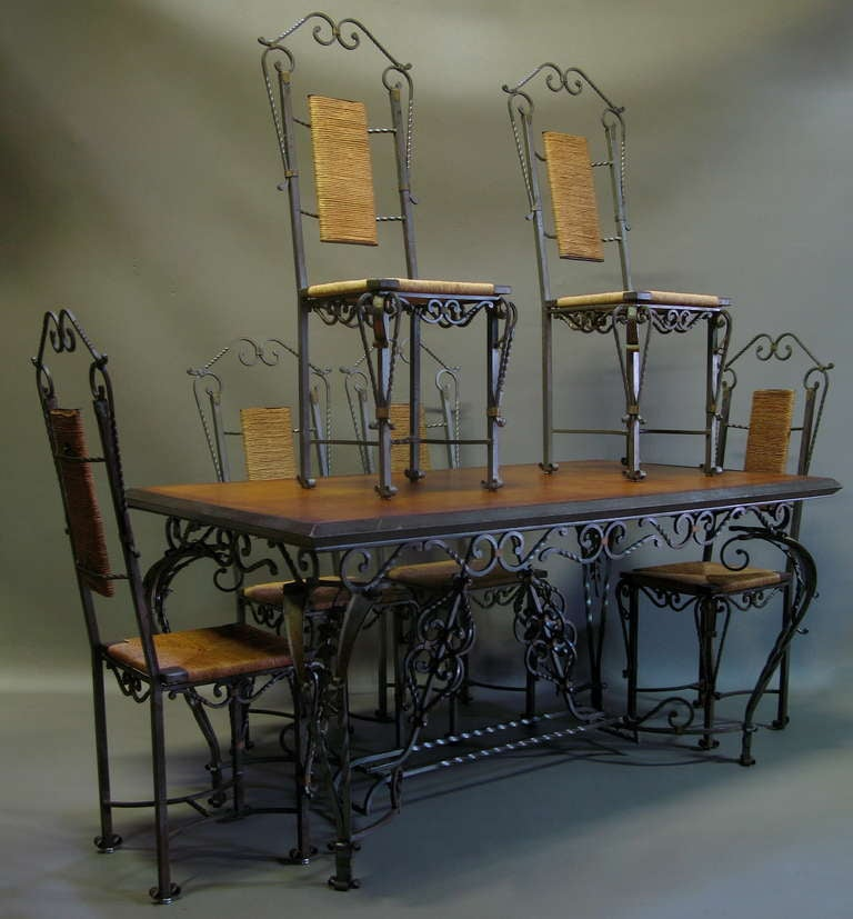 rare exquisite set of six chairs dining table credenza france