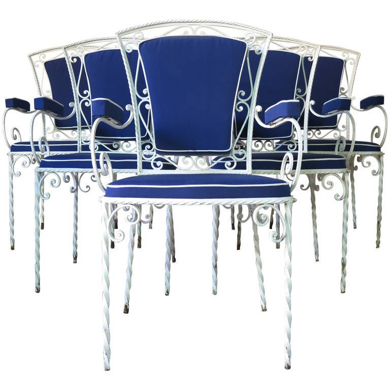 Set of Six Wrought Iron Armchairs, France, 1940s