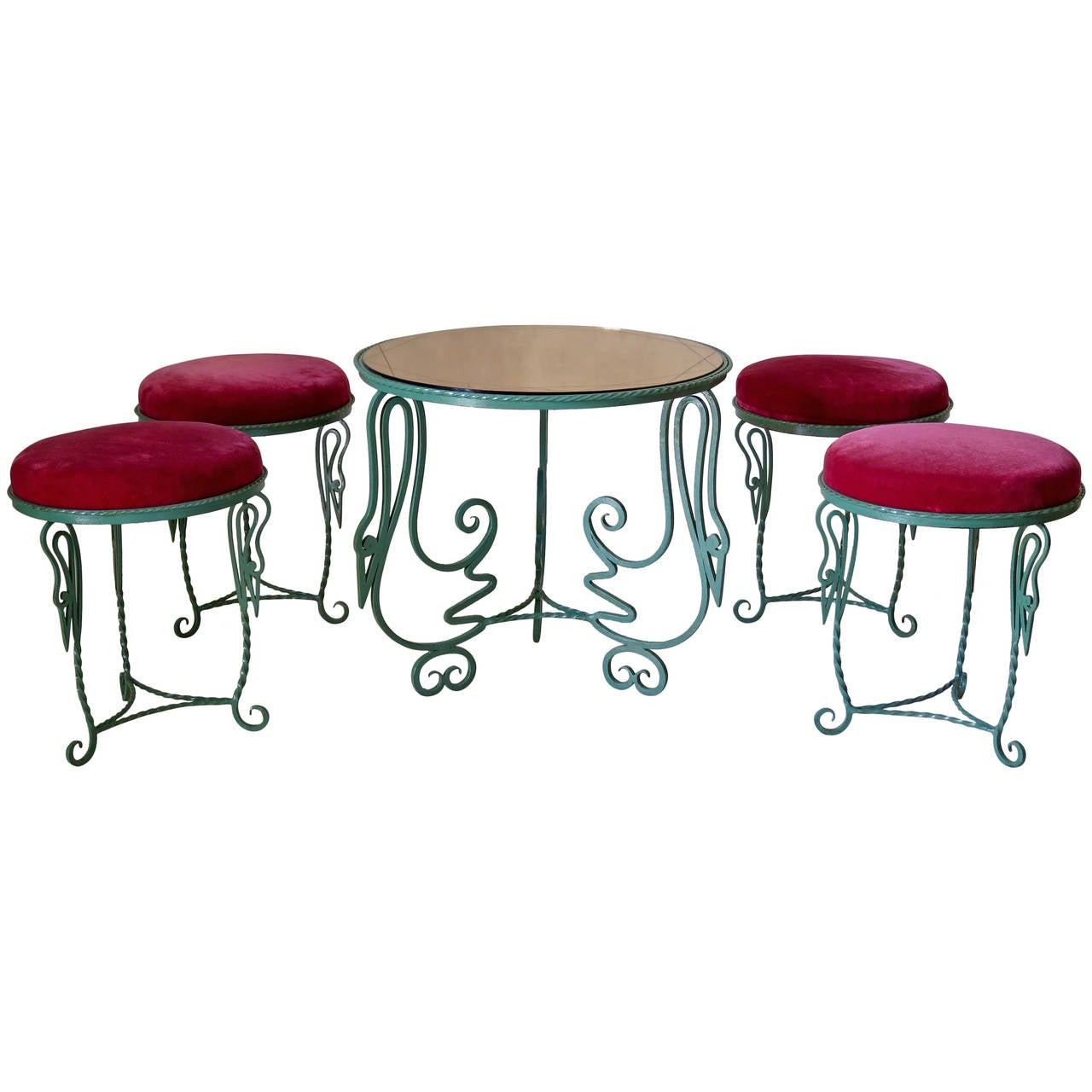 Stork Motif Wrought Iron Coffee Table And 4 Stools France 1940s At 1stdibs
