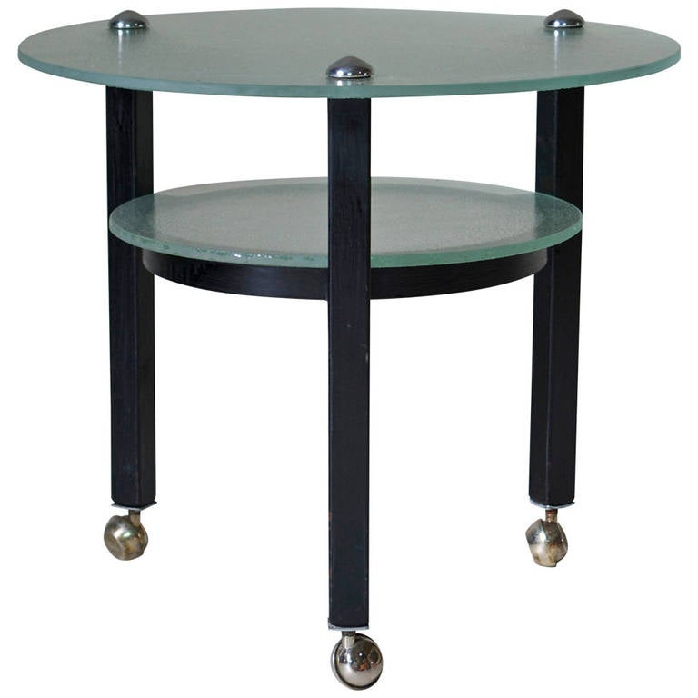 Two-Tiered Glass and Iron Side Table on Casters