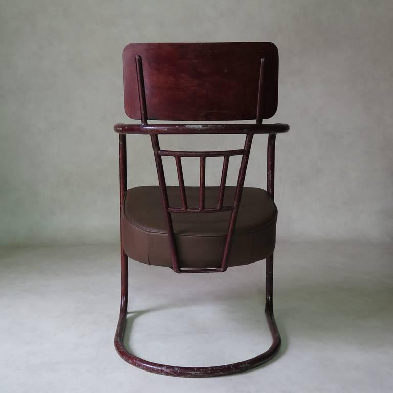 Mid-20th Century Unusual Bauhaus Tubular Metal Chair, France, 1930s For Sale