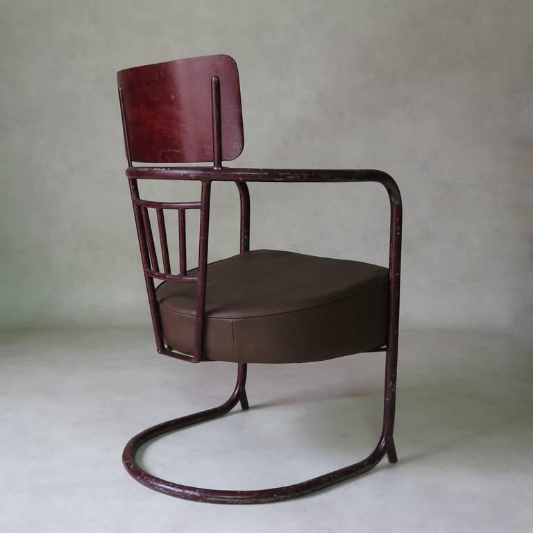 Unusual Bauhaus Tubular Metal Chair, France, 1930s For Sale 1