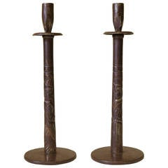 "Pair of Art Deco ""M. & Mme."" Chiselled Iron Candlesticks, France circa 1930s"