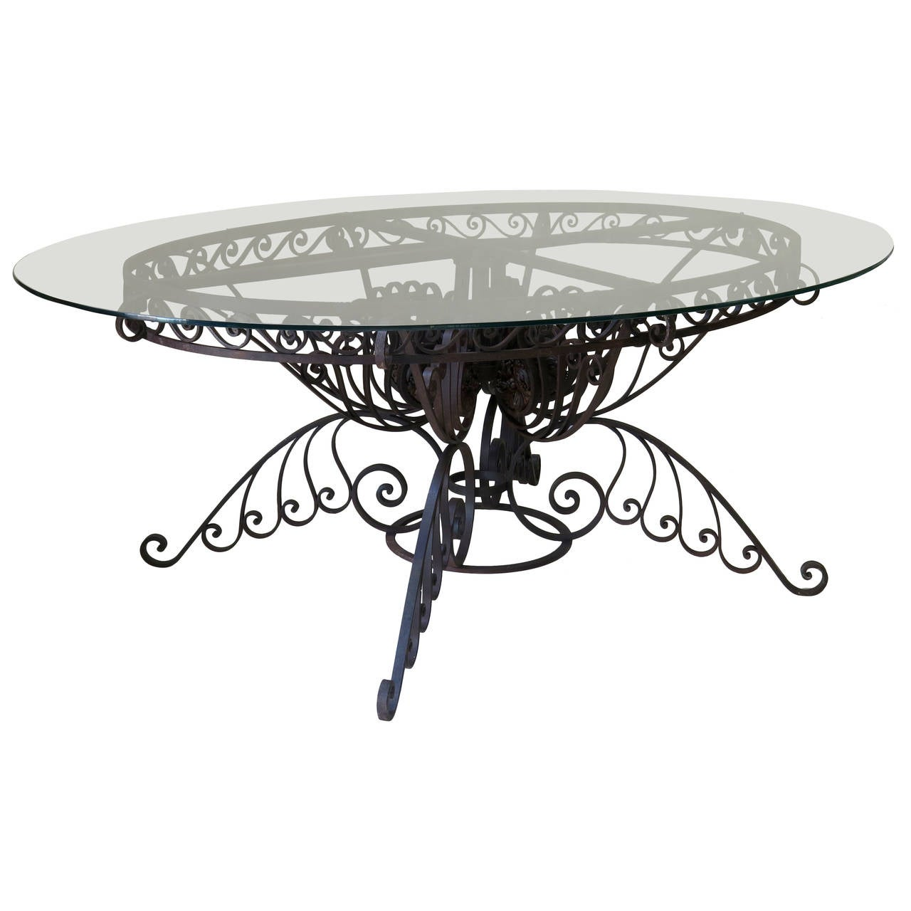 Spectacular Oval Wrought Iron Art Deco Dining Table  : 3007702l from www.1stdibs.com size 1280 x 1280 jpeg 90kB