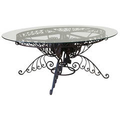 Spectacular Oval Wrought Iron Art Deco Dining Table, France, 1930s