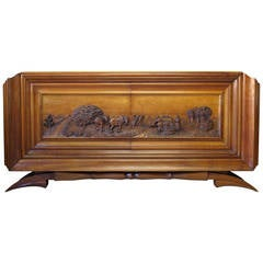 Impressive Carved Credenza by Dominique, France, 1930s
