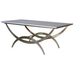 Solid Brass and Marble-Top Table, France circa 1950s