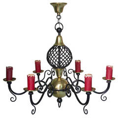 Brass and Iron Chandelier, France circa 1950s