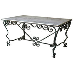 French 1940s Wrought-Iron and Marble-Top Table