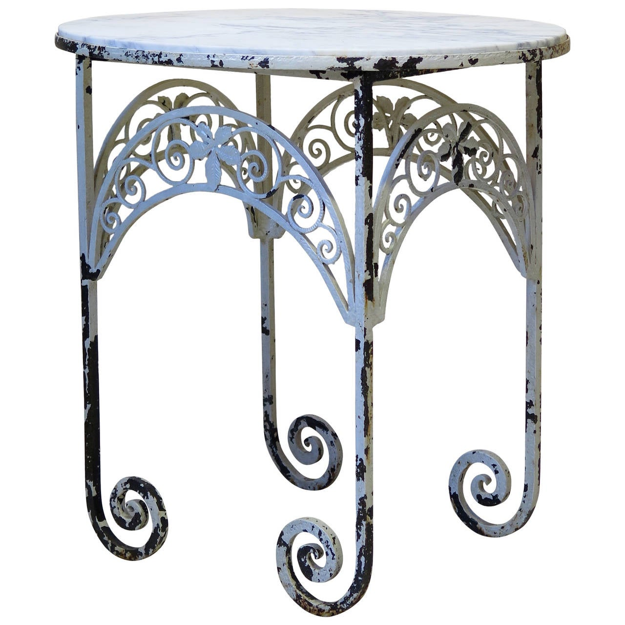 Oval Art Deco Wrought Iron And Marble Side Table, France, Circa 1920s 1