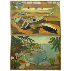 Pair of Large Oil Paintings, France, circa 1950s