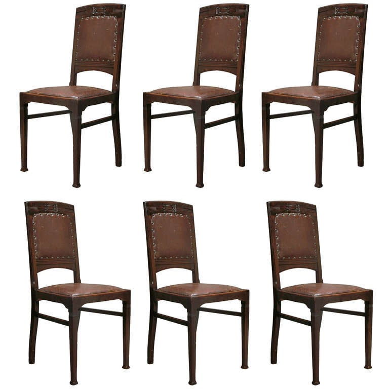 Set of Six Arts & Crafts Dining Chairs