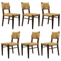 Set of 6 French Mid-Century Dining Chairs by Audoux-Minet